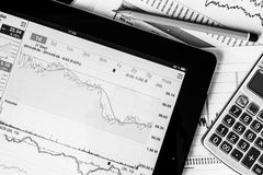 Work in stock exchange, calculate of income Stock Photo