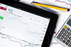 Work in stock exchange, calculate of income Royalty Free Stock Photos