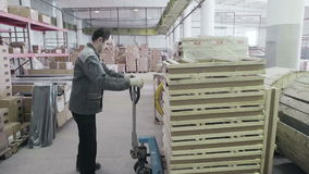 Work on stock. Order for carriage. Russia, Novosibirsk - July 25, 2015: Work on stock room. Order for carriage. Company import goods for resale. Trader of retail stock video footage