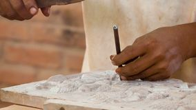 Work on stone carvings. Stone workshop in Cambodia stock video footage