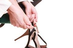 Work stoppage. Tired businesswoman massaging feet Royalty Free Stock Image