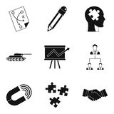 Work strategy icons set, simple style. Work strategy icons set. Simple set of 9 work strategy vector icons for web isolated on white background Royalty Free Stock Photography