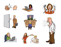 Work stress. Cartoon illustration of workplace stress Stock Images