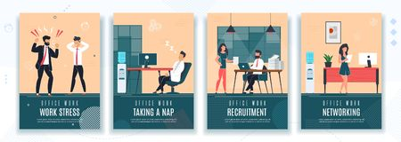 Free Work Stress, HR, Rest At Work Office Poster Set Stock Image - 154376011