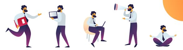 Work Stress and Mentality Vector Illustration. Man Works Hard and Tests Stress. Office Worker Sits on Floor and Meditates. Man Speaks into Loudspeaker. Cartoon royalty free illustration