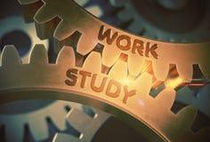 Work Study on Golden Metallic Gears. 3D Illustration. Royalty Free Stock Photos