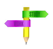 Work and study pencil banner illustration design Stock Photography