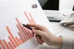 Work studying the chart in the office Royalty Free Stock Photo