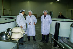 The work of the sturgeon plant in the Kaluga region of Russia. royalty free stock images