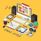 Work style concept 3d isometric infographic Royalty Free Stock Photo