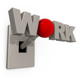 Work Switch. 3D Switch with the word work spelled on it's knob Stock Photos