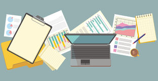 Work Table Document and Laptop Design Flat Royalty Free Stock Image