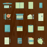 Work table icons. Set of flat work table icons on wooden background. eps10 Stock Photos