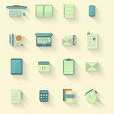 Work table icons with shadow. Set of flat office icons with long shadow. eps10 Royalty Free Stock Photo
