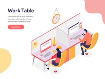 Work Table Illustration Concept. Isometric design concept of web page design for website and mobile website.Vector illustration. EPS 10 vector illustration
