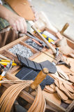 Work table of a Shoemaker Stock Image