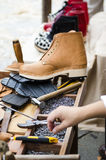 Work table of a Shoemaker Stock Images