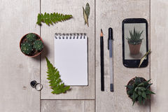 Work table. top view Royalty Free Stock Photos