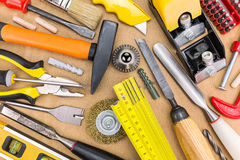 Work table with working tools Royalty Free Stock Photo