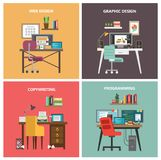 Work tables set. Designer, programmer and copywriter Royalty Free Stock Images