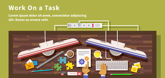 Work on Task Design Flat Style Royalty Free Stock Photography