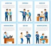 Work Task and Order Employee Dismissal by Employer. Work task and order, employee dismissal by employer vector. Reprimand, worker monitor, supervisor of novice stock illustration