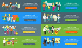 Work Team People Job Concept Flat Design Stock Images