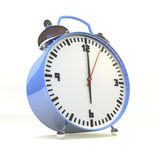 Work time. 3d illustration of blue alarm clock pointing at six Stock Photo