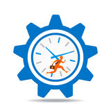 Work on time concept design. Businessmen run in the big clock concept design Stock Photography