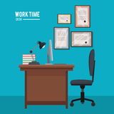 Work time desk chair lamp book laptop certificate wall Royalty Free Stock Image