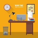 Work time desk computer basket book diploma. Vector illustration eps 10 Royalty Free Stock Images