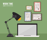 Work time desk laptop lamp certificate Royalty Free Stock Photography