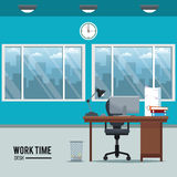 Work time desk space clock chair window basket Stock Images