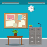 Work time desk table cabinet file clock plant. Vector illustration Stock Photography