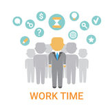 Work Time Icon Working Process Organization Concept Banner Stock Images