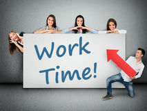 Work time word on banner Stock Image