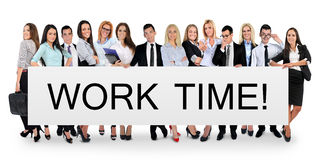 Work time word on banner Stock Photos