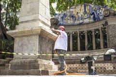 Work to clean vandalism graffiti, waterproof and restore the Obelisco da Memoria royalty free stock photos