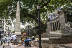 Work to clean vandalism graffiti, waterproof and restore the Obelisco da Memoria royalty free stock images