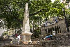 Work to clean vandalism graffiti, waterproof and restore the Obelisco da Memoria royalty free stock photo