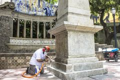 Work to clean vandalism graffiti, waterproof and restore the Obelisco da Memoria stock photography