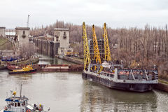 Work to replace the lock gates of the Volga-don shipping canal Royalty Free Stock Photo