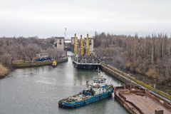 Work to replace the lock gates of the Volga-don shipping canal Royalty Free Stock Images