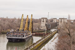 Work to replace the lock gates of the Volga-don shipping canal Stock Image