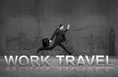 Work to travel. Businessman jumping  from work to travel Stock Image