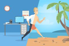 From work to vacation. Businessman running for rest vector illustration