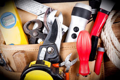 Work Tool. Close up of tools on a tool belt Royalty Free Stock Image
