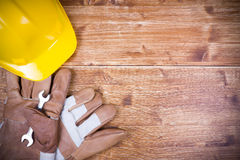 Work Tool. Construction Work Tool on wood table and copy space Stock Images