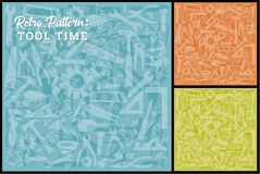 Work Tool Background in 3 colors. Useful work tool background; Multiple work tools outlined; no transparency used; easy-edit color change Stock Photo
