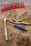 Work Tool Collection on steel bench top Royalty Free Stock Photography